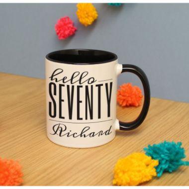 Personalised Hello Seventy Inside Mug