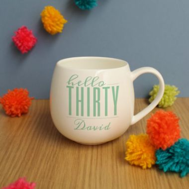 Personalised Hello Thirty Hug Mug