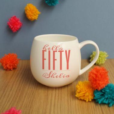 Personalised Hello Fifty Hug Mug