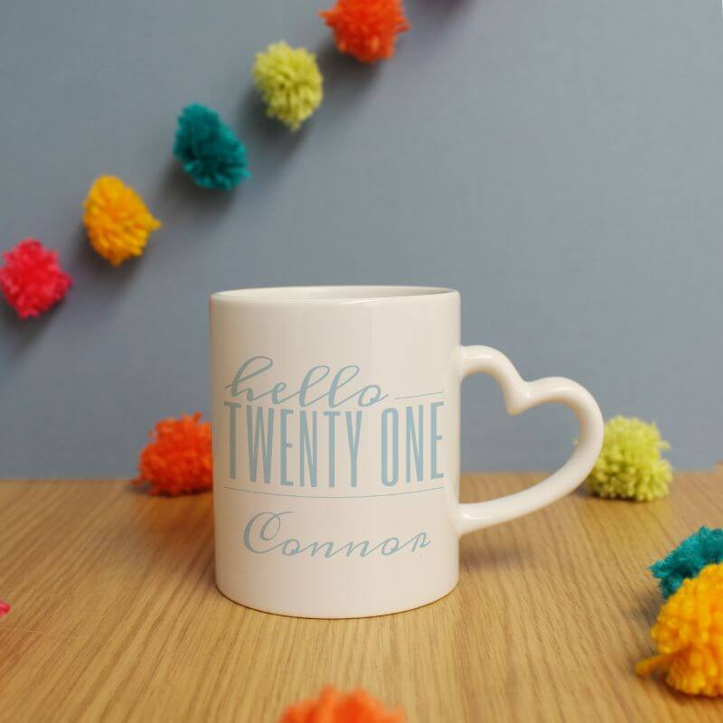 Personalised Hello Twenty One Heart Handle Mug