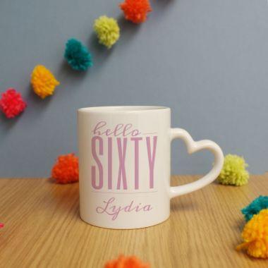 Personalised Hello Sixty Heart Handle Mug
