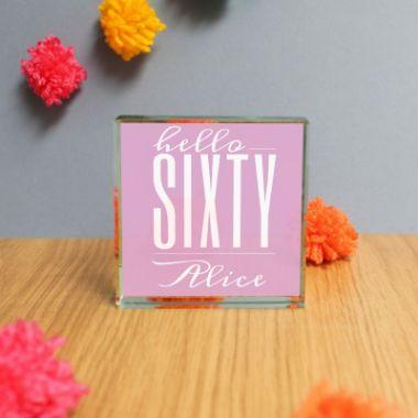 Personalised Hello Sixty Jade Glass Block