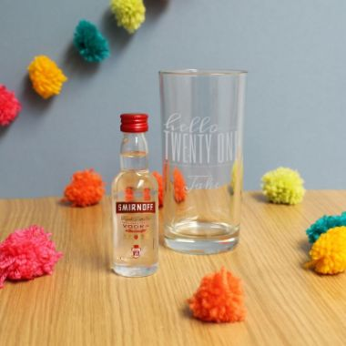 Personalised Hello Twenty One Tumbler And Miniature Vodka