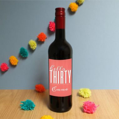 Personalised Hello Thirty Red Wine