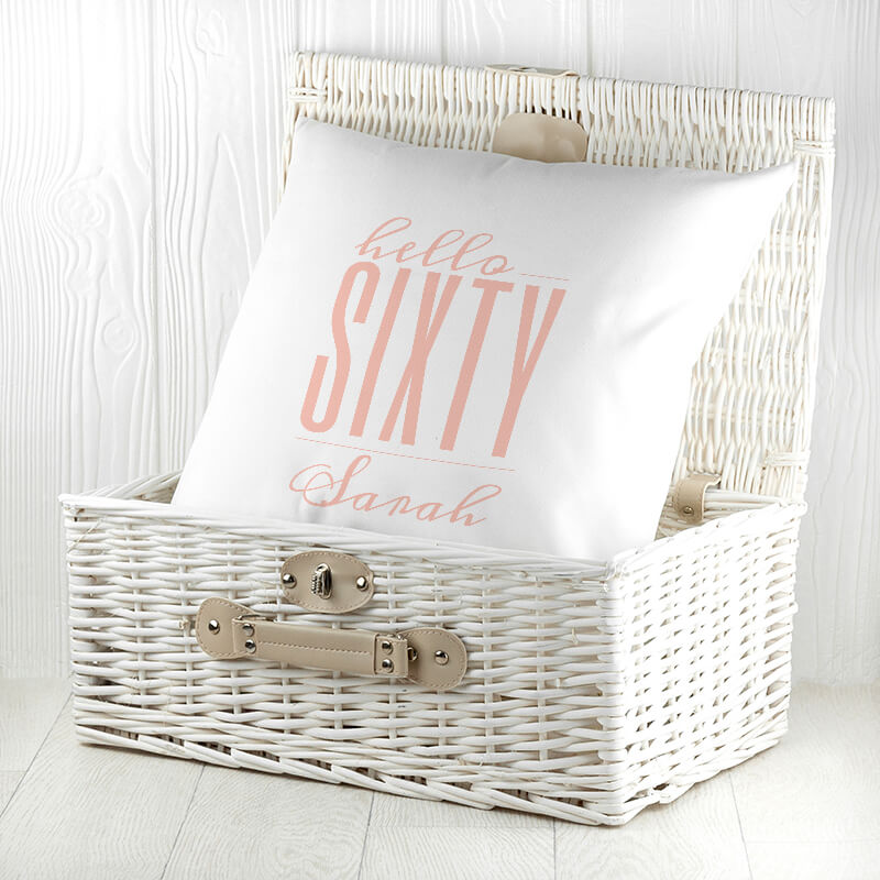 Personalised Hello Sixty Birthday Cushion Cover