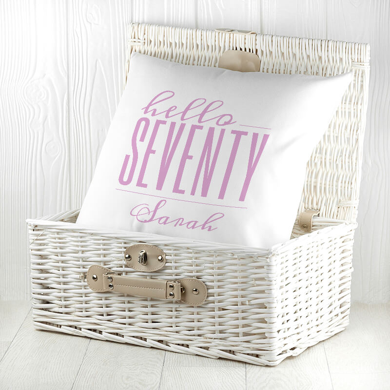 Personalised Hello Seventy Birthday Cushion Cover