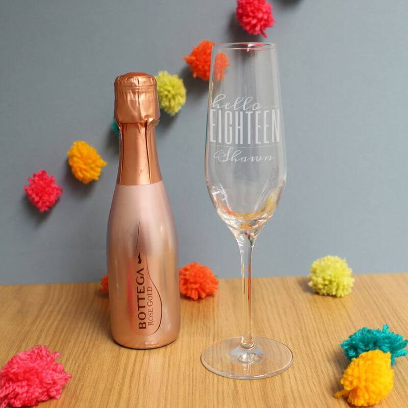 Personalised Hello Eighteen Flute And Rose Gold Bottega