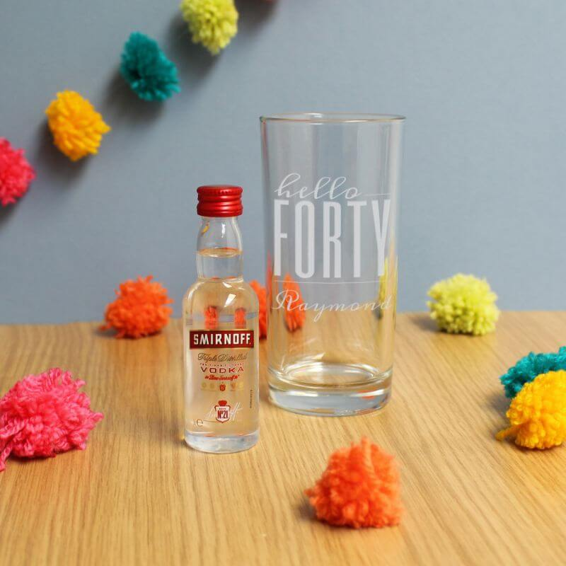 Personalised Hello Forty Tumbler And Miniature Vodka