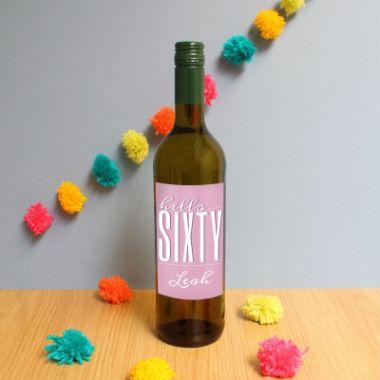 Personalised Hello Sixty White Wine