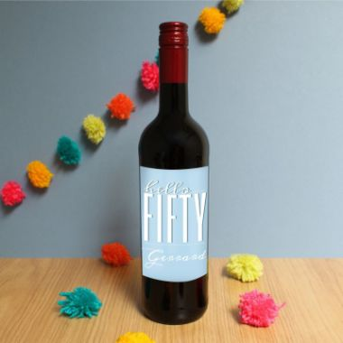 Personalised Hello Fifty Red Wine