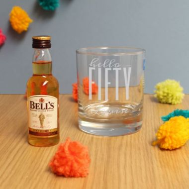 Personalised Hello Fifty Tumbler And Miniature Whisky