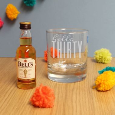 Personalised Hello Thirty Tumbler And Miniature Whisky