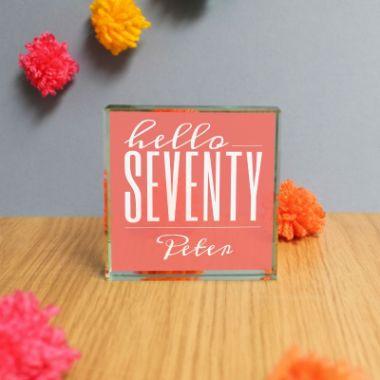 Personalised Hello Seventy Jade Glass Block