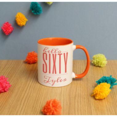 Personalised Hello Sixty Inside Mug