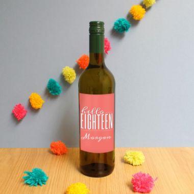 Personalised Hello Eighteen White Wine