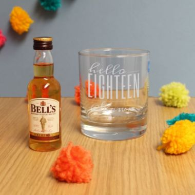 Personalised Hello Eighteen Tumbler And Miniature Whisky