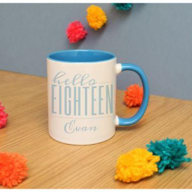 Personalised Hello Eighteen Inside Mug