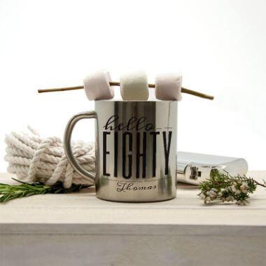 Personalised Hello Eighty Birthday Metal Mug