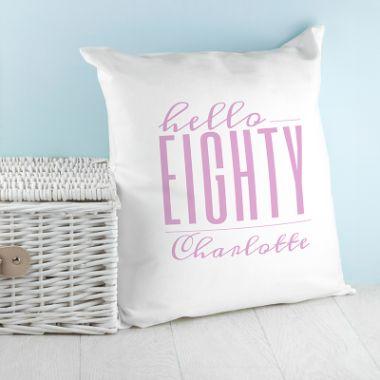 Personalised Hello Eighty Birthday Cushion Cover