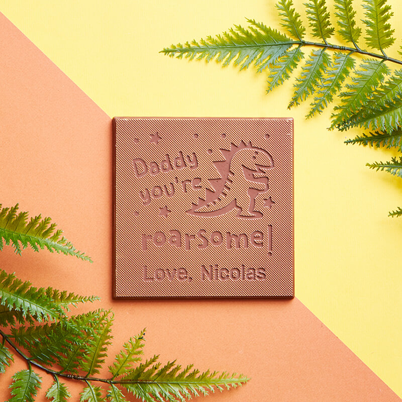 Personalised Daddy You're Roarsome Chocolate Card