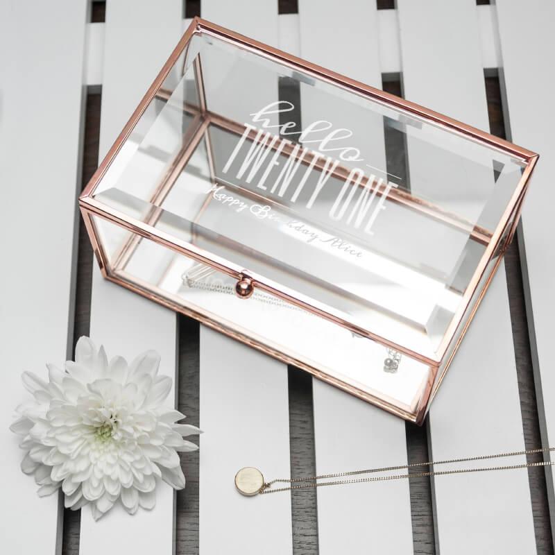 Personalised Hello Twenty One Birthday Rose Gold Glass Jewellery Box