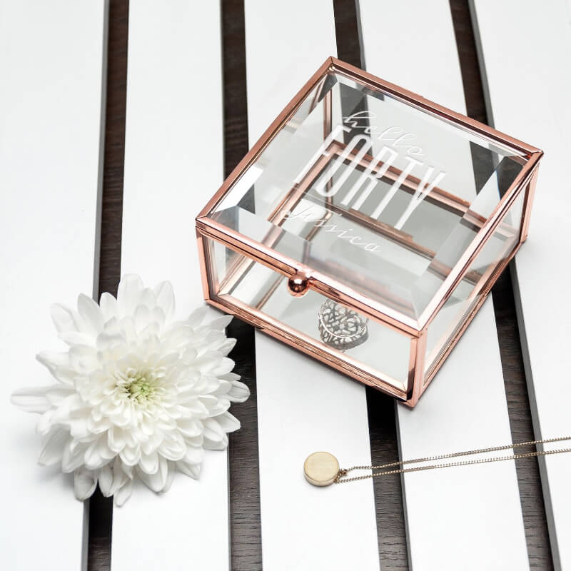 Personalised Hello Forty Birthday Square Rose Gold Glass Trinket Box