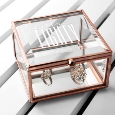 Personalised Hello Eighty Birthday Square Rose Gold Glass Trinket Box