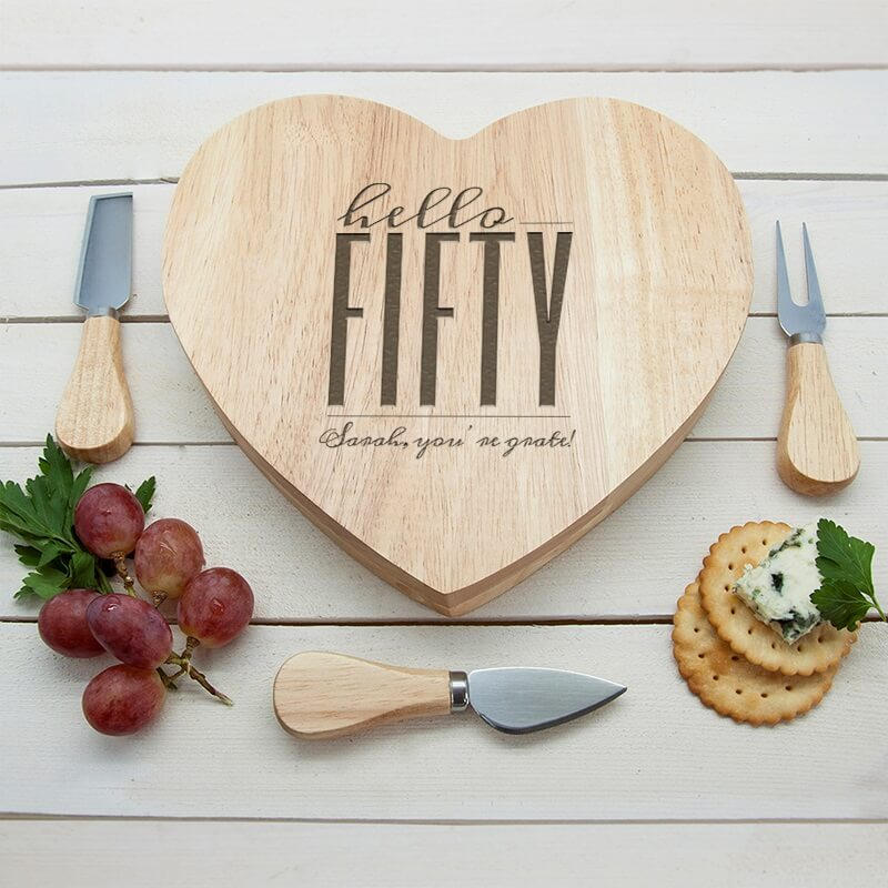 Personalised Hello Fifty Birthday Heart Cheese Board