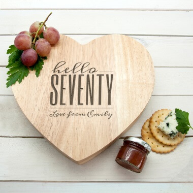 Personalised Hello Seventy Birthday Heart Cheese Board
