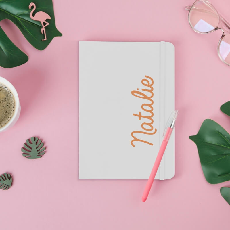 Personalised Colour Name White Notebook