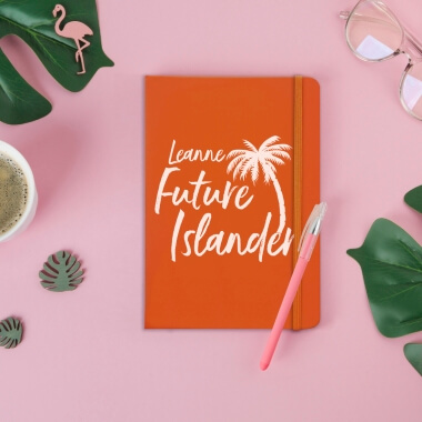Personalised Future Islander Orange Notebook