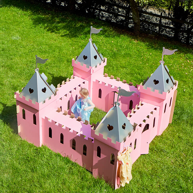 Large Cardboard Princess Palace - Pink and Silver