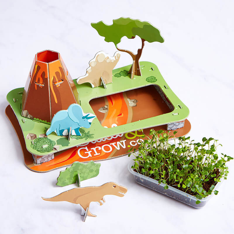 Volcano 3D Puzzle Garden - Dinosaur Kale And Pea Seeds