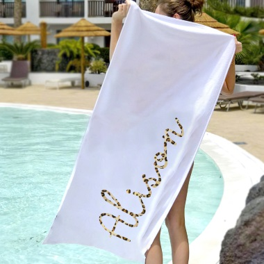 Personlaised Leopard Print Name Beach Towel