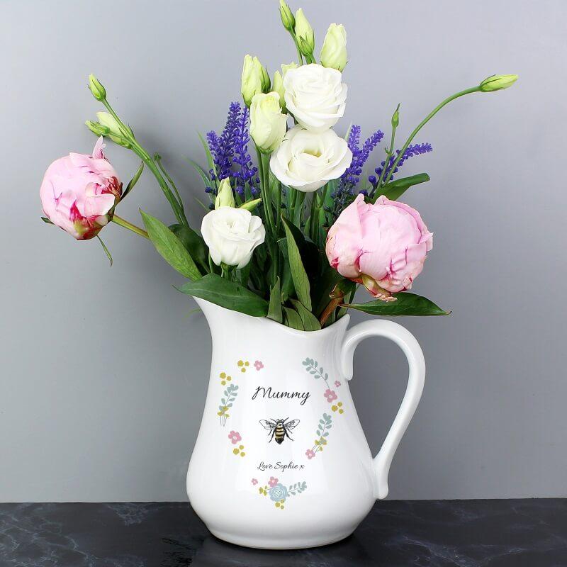 Personalised Bee Happy Ceramic Flower Jug