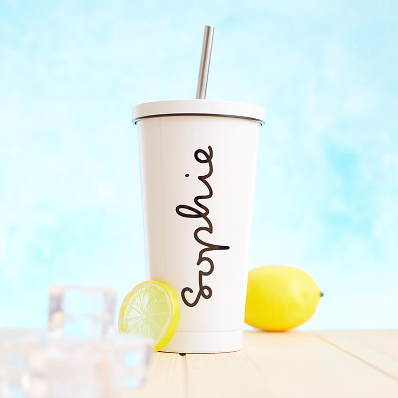 Personalised Name Travel Cup With Straw