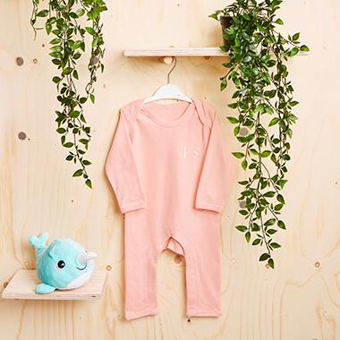 Personalised Initials Baby Long Sleeve Romper - Pink
