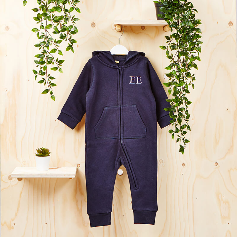 Personalised Initials Baby Hooded All-In-One