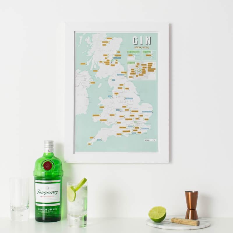 UK Gin Distilleries Scratch Off Print