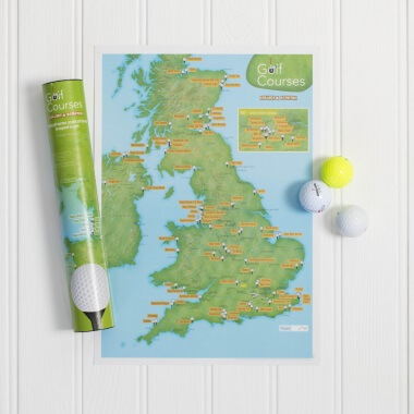 UK Golf Courses Scratch Off Print