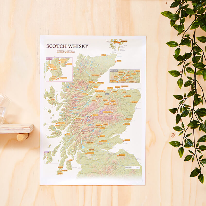 Scotch Whisky Distilleries Scratch Off Print