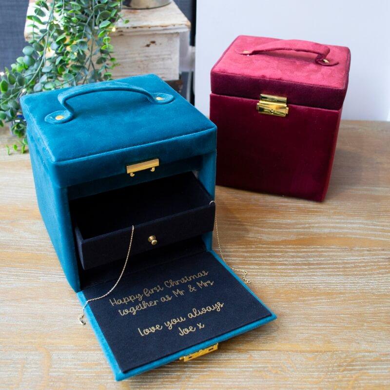 Personalised Hidden Message Velvet Jewellery Box