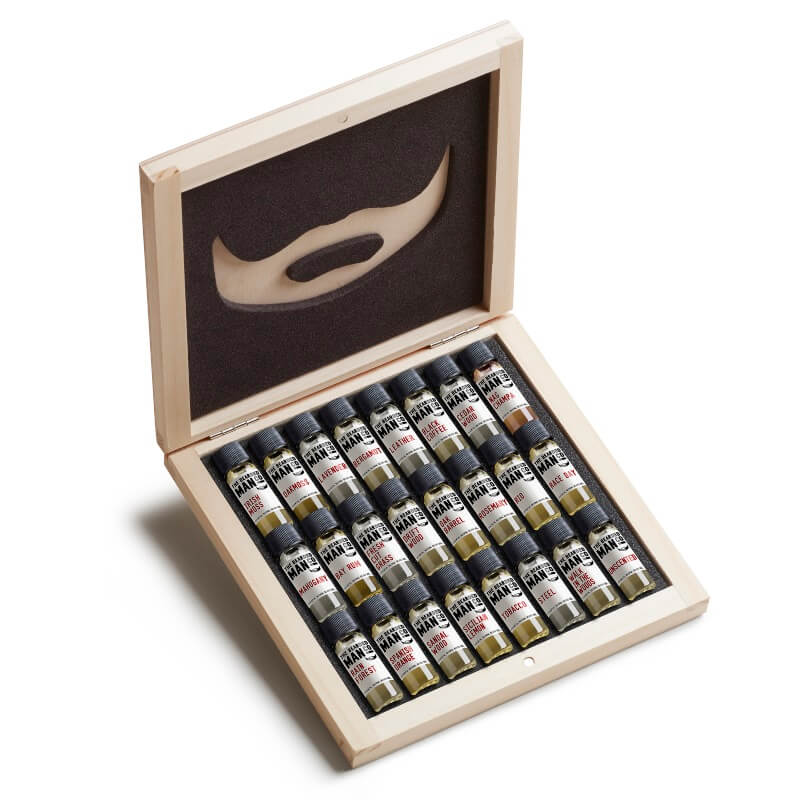Wooden 24 Beard Oil Sampler Box Set
