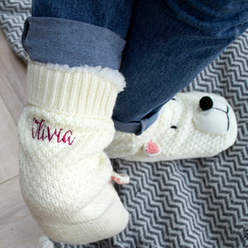 Personalised Embroidered Polar Bear Slippers
