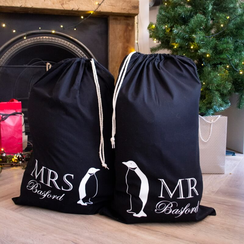 Personalised Couples Penguin Christmas Sacks