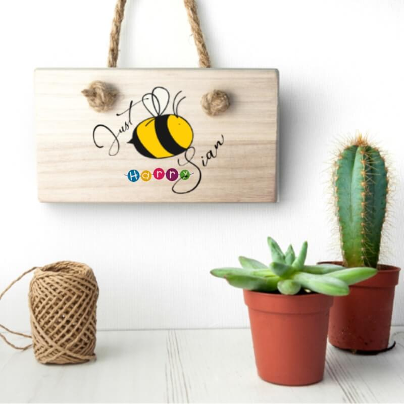 Help Harry Help Others Personalised Just Bee You Wooden Hanging Sign