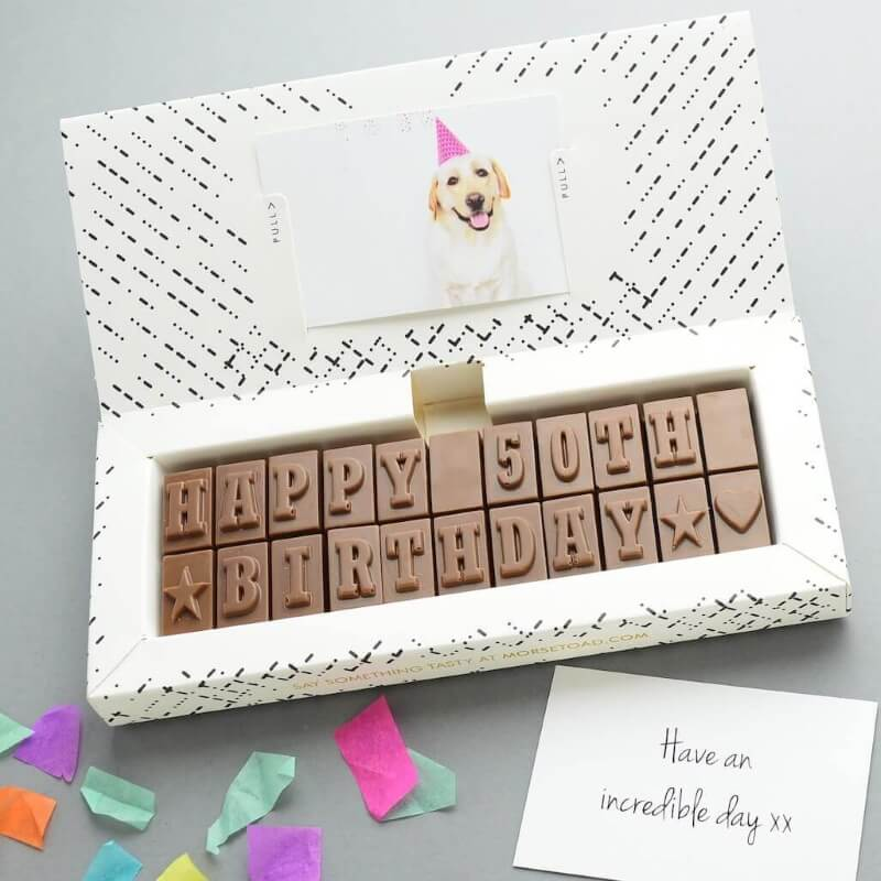 Personalised 50th Birthday Chocolate Message