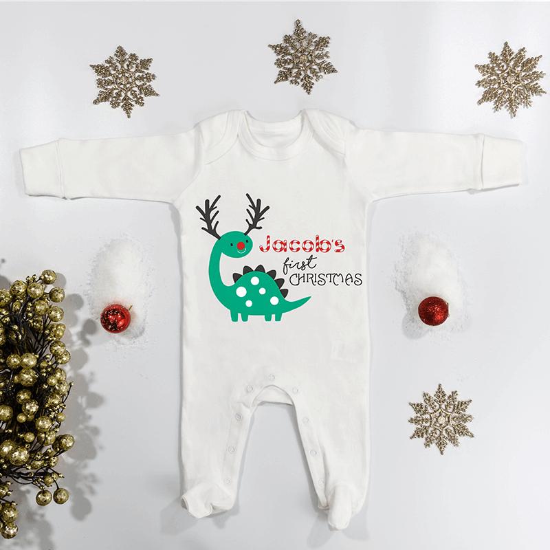 Personalised 1st Christmas Dino Babygrow