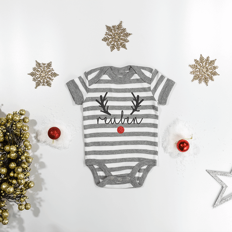 Personalised Reindeer Grey Striped Bodysuit