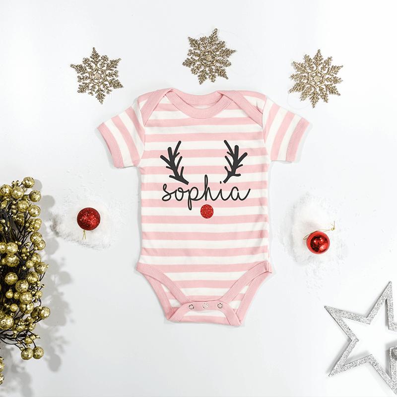 Personalised Reindeer Pink Striped Bodysuit